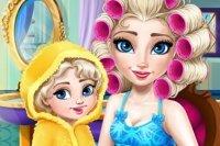 Elsa und Tochter stylen