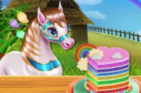 Pony Regenbogenkuchen