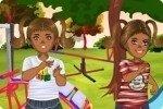 Zwillinge auf dem Spielplatz